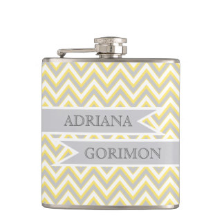 Modern chevron grey, yellow wedding personalized hip flask