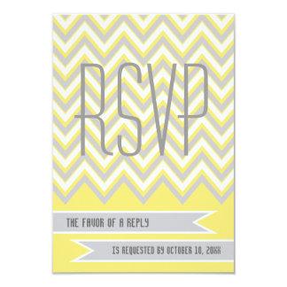 Modern chevron grey, yellow wedding RSVP 9 Cm X 13 Cm Invitation Card