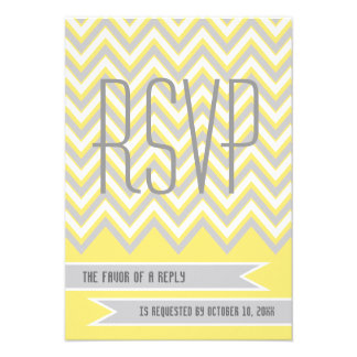 Modern chevron grey, yellow wedding RSVP Custom Announcement