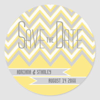 Modern chevron grey, yellow wedding Save the Date Classic Round Sticker