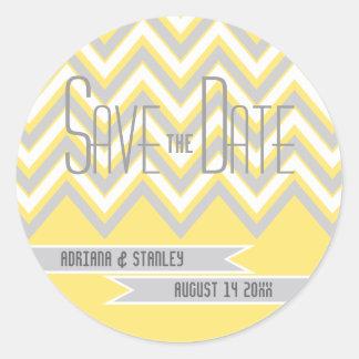 Modern chevron grey, yellow wedding Save the Date Round Sticker
