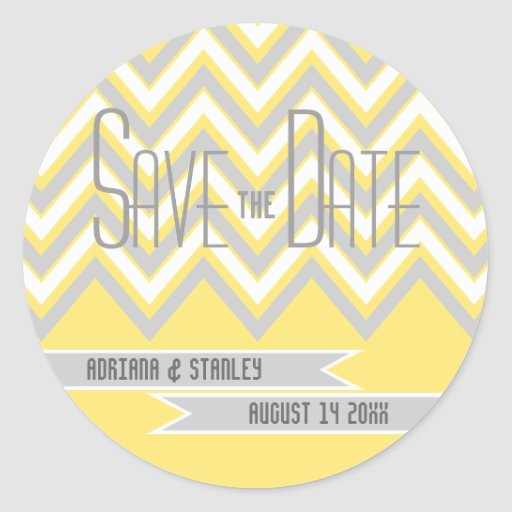 Modern chevron grey, yellow wedding Save the Date Round Stickers