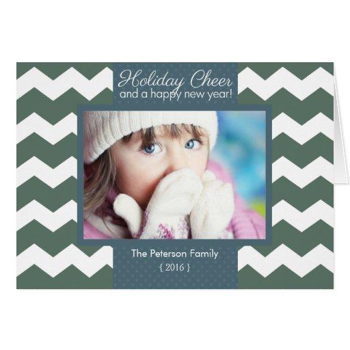 Modern Chevron Holiday Cheer Folded Christmas Card
