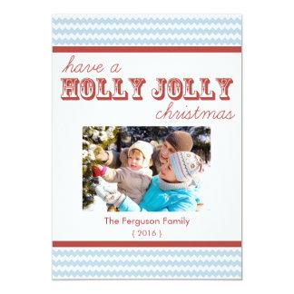 Modern Chevron Holly Jolly Christmas Flat Card 13 Cm X 18 Cm Invitation Card