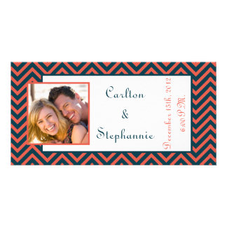Modern Chevron Neon Coral/Navy Photo Announcement Personalised Photo Card