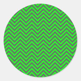 Modern Chevron Neon Green/Grey Envelope Seal Round Sticker