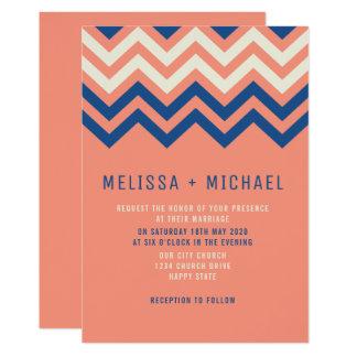 Modern Chevron Pattern Coral And Blue Wedding Card