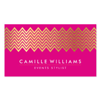 MODERN CHEVRON pattern gold foil bright hot pink Pack Of Standard Business Cards
