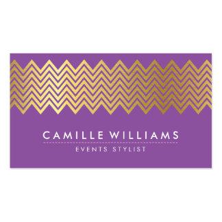 MODERN CHEVRON pattern gold foil trendy purple Business Card Templates