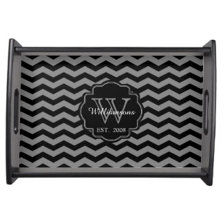 Modern Chevron Pattern Monogram Serving Tray