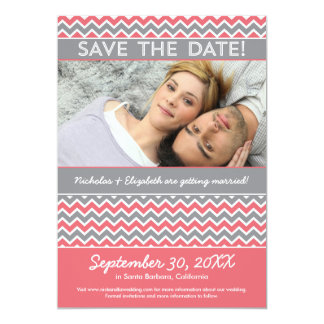 Modern Chevron Pattern Save the Date (pink) Announcement