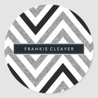 MODERN CHEVRON PATTERN trendy silver glitter black Round Sticker