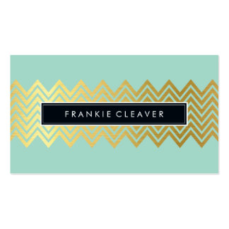 MODERN CHEVRON PATTERN trendy simple gold mint Pack Of Standard Business Cards