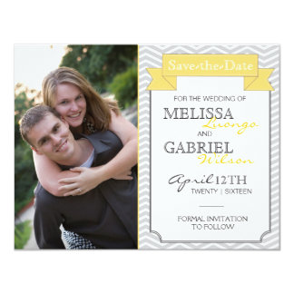 Modern Chevron Save the Date Yellow Card