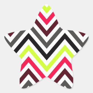 Modern Chevron Stripes Star Sticker