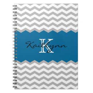 Modern Chevron Teal Accent Monogram Notebook