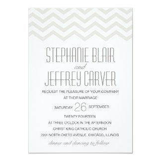 Modern Chevron Wedding Invitation - Beige
