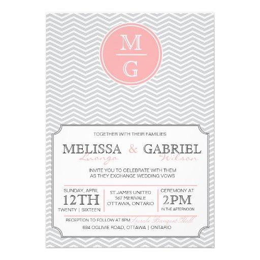 Modern Chevron Wedding Invitation Pink