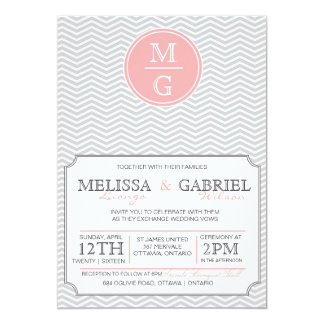 Modern Chevron Wedding Invitation Pink