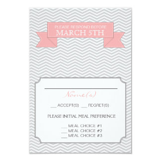 Modern Chevron Wedding Reply Card Pink