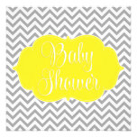 Modern Chevron Yellow Grey Baby Shower