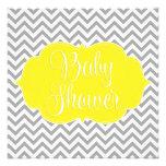 Modern Chevron Yellow Grey Baby Shower Personalized Invitation