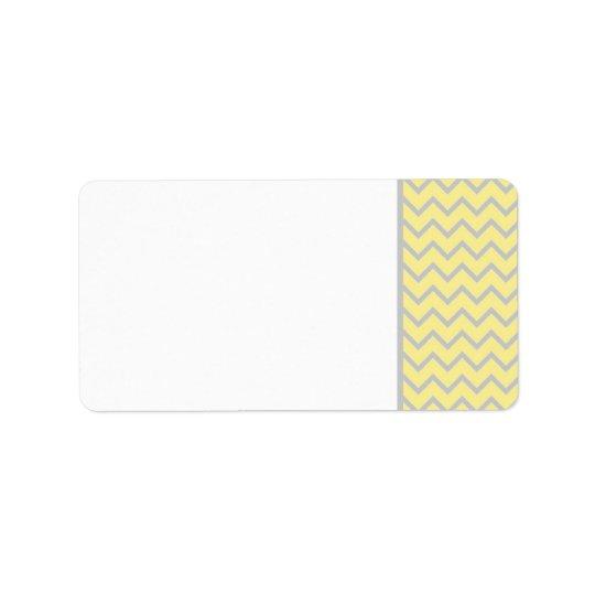 Modern Chevron Yellow/Grey Wedding Mailing Label