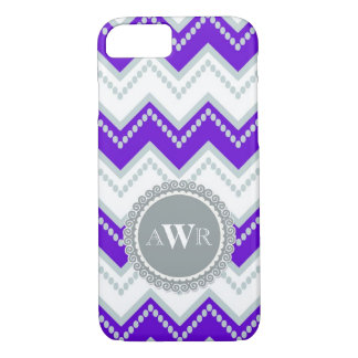 Modern Chevron Zig Zag Monogrammed  Stripe Oval iPhone 7 Case