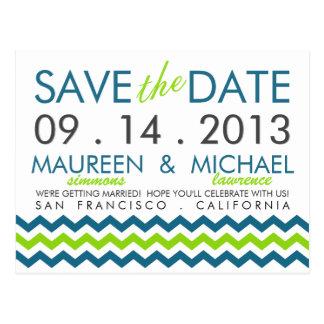 Modern Chevron Zig-Zag Save the Date Postcard