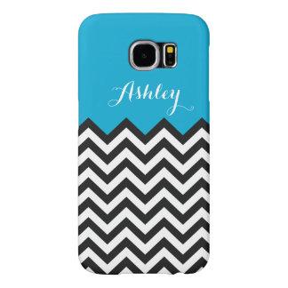 Modern Chevron Zigzag Monogram- Classy Blue Samsung Galaxy S6 Cases