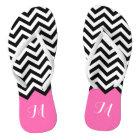 Modern Chevron Zigzag Monogram Girly Rose Pink Thongs