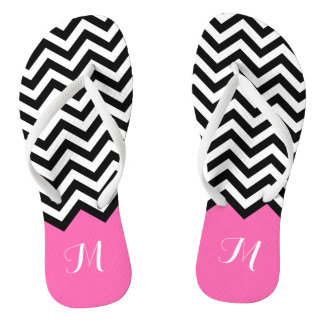 Modern Chevron Zigzag Monogram Girly Rose Pink Thongs
