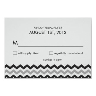 Modern Chevron Zigzag RSVP Wedding Reply 9 Cm X 13 Cm Invitation Card