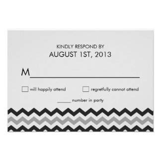 Modern Chevron Zigzag RSVP Wedding Reply Personalized Announcements