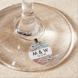 Modern Chic Abstract Dots and Wavy Lines Gradient Wine Glass Charms