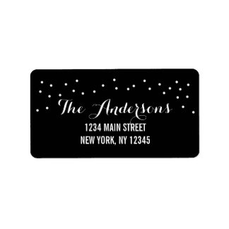 Modern Chic Black and White Dots Address Label
