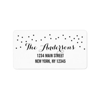 Modern Chic Black and White Dots Address Label