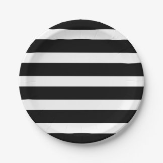 Modern Chic Black and White Stripe Party 7 Inch Paper Plate