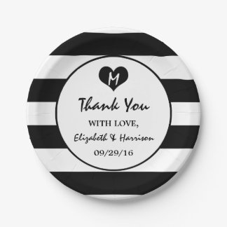 Modern Chic Black and White Wedding 7 Inch Paper Plate