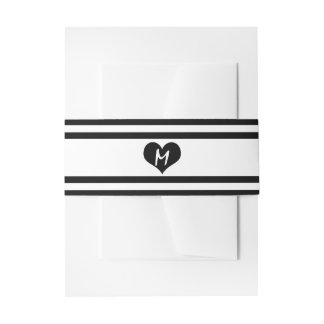 Modern Chic Black and White Wedding Invitation Belly Band