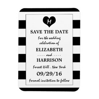 Modern Chic Black and White Wedding Save The Date Magnet