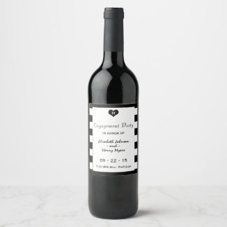 Modern Chic Black & White Wedding Engagement Wine Label