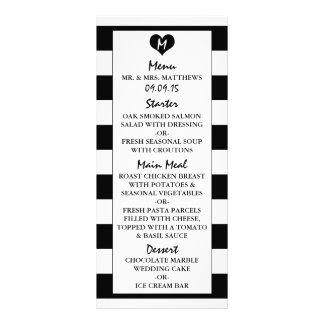 Modern Chic Black & White Wedding Menu Full Colour Rack Card