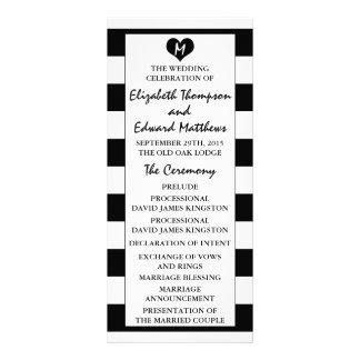 Modern Chic Black & White Wedding Program Rack Card Template