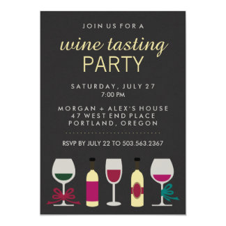 Modern Chic Black Wine Tasting Party 13 Cm X 18 Cm Invitation Card
