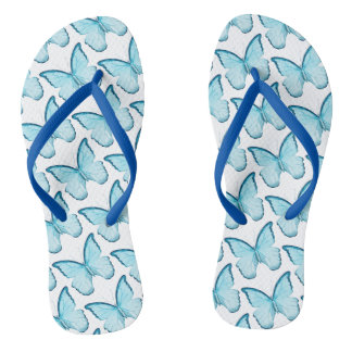 Modern Chic Blue and White Butterfly Pattern Thongs