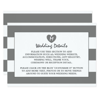 Modern Chic Charcoal Wedding Detail Card
