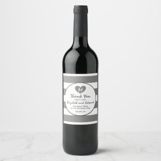 Modern Chic Charcoal Wedding Wine Label