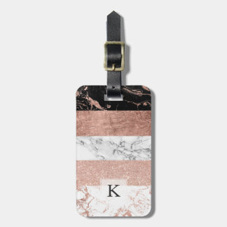 Modern chic color block rose gold marble stripes luggage tag