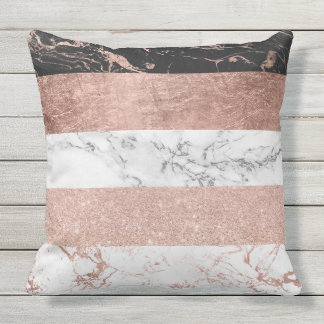 Modern chic color block rose gold marble stripes outdoor cushion